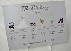 This is a really cute idea ~ a pictorial wedding day itinerary for guests or the bridal party.    You could pop it on the back of the ceremony booklets or make business card sized versions for the bridal party to keep in their pockets/purses so they know what's happening when.