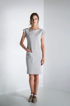 Grey dress Casual dress Midi dress Tight-fitting от KoteStudio