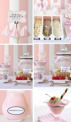 ice cream shoppe party - oh my goodness! Ice Cream Theme, Ice Cream Parlor, Dessert Buffet, Candy Buffet, Dessert Tables, Pink Parties, Birthday Parties, Birthday Ideas, Vintage Ice Cream