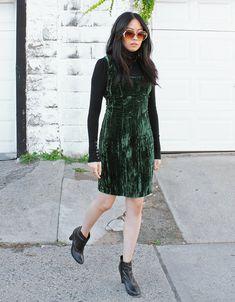 a9446aa1 Vintage Velvet Dress Betsey Johnson Crushed Velvet Punk Label Emerald Green  Mini Dress - Size XS to