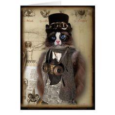 Steampunk Cat Custom Notecard