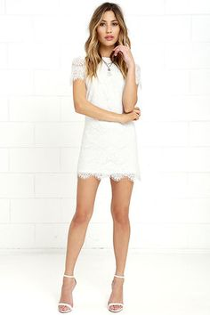 Take Me to Brunch Ivory Lace Shift Dress at Lulus.com!
