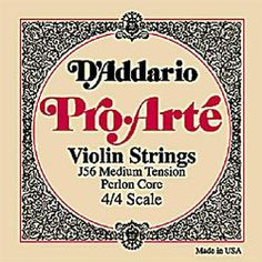 D'Addario Pro-Arte 4/4 Violin D String Medium Gauge Aluminum/Perlon by D'Addario. $6.30. These perlon core strings are exceptional for serious students and amateur players. Pro-Arte strings have a warm sound, are less sensitive to humidity and temperature changes, and break in quickly.