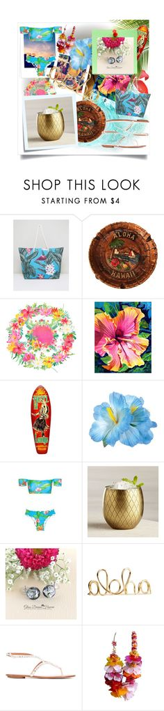 """Aloha"" by spookie1 ❤ liked on Polyvore featuring South Beach, Post-It, Crate and Barrel, Aquazzura and John Galliano"