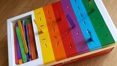 Color matching plus fine motor skills with popsicle sticks color fine matching motor popsicle skills sticks Motor Skills Activities, Preschool Learning Activities, Baby Learning, Sensory Activities, Infant Activities, Fine Motor Skills, Young Toddler Activities, Diy Toys For Toddlers, Childcare Activities