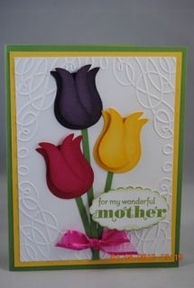Stampin up Owl punch tulips