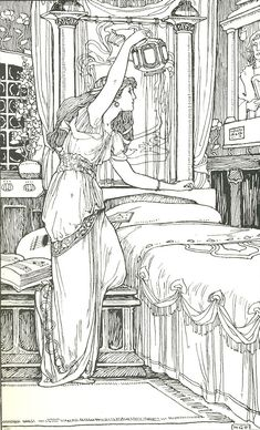 https://flic.kr/p/djXCwN | Eva Looking At The Portrait | illustrated by H. Granville Fell  From the book Wagner's Heroes