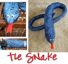 Adorable.  Ideas for making stuff out of an old neck tie.  I'm a snake lover to begin with, so this is the one I waaaaant to make with my class :0)
