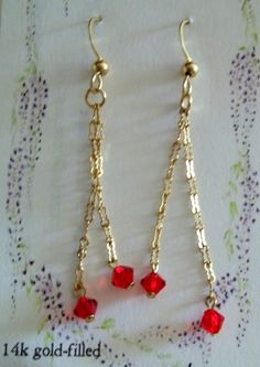 14k gold filled earrings with Swarovski crystals by Cabsynth, $18.00