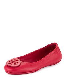 TORY BURCH Minnie Travel Logo Ballerina Flat, Dark Peony. #toryburch #shoes #flats