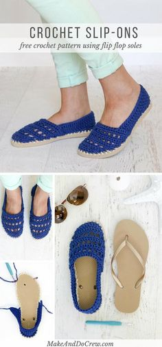 These crochet slip-on shoes come together easily with cotton yarn and a pair of flip flops. Wear them to cruise the boardwalk or when frolicking on your yacht! via @makeanddocrew