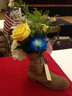 Centerpieces for my husbands military retirement party.