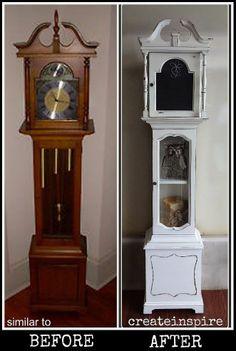 Repurpose a non-working grandfather clock as a quaint display case.