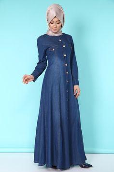 Selen Düğmeli Kot Elbise Ferace Koyu Kot Ürün Kodu: MSW8052 --> 84.90 TL