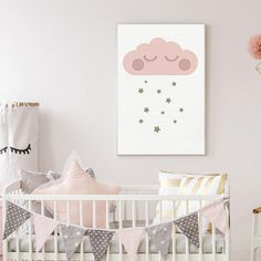 Sleepy Cloud Printable | Nursery | Kids Decor | So cute #pink #sleepycloud #nursery #baby #ad
