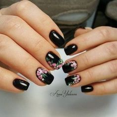 30 Black Nail Designs That Are Anything but Goth Cute Nail Art, Cute Nails, Pretty Nails, Black Nail Designs, Simple Nail Art Designs, New Nail Art Design, Crazy Nails, Fancy Nails, Nagel Gel