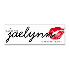 makeup artist business card red xoxo lips