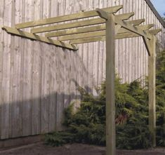 An attached lean to pergola that comes in many different sizes. An attached lean to pergola that comes in many different sizes. Curved Pergola, Building A Pergola, Small Pergola, Pergola Attached To House, Deck With Pergola, Pergola Shade, Pergola Plans, Cheap Pergola, Backyards