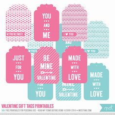 14 Days of FREE Valentine's Printables Day 8 - Gift Tags | MissTiina.com {Blog}