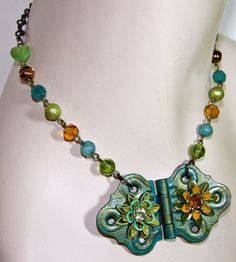 Hinged Butterfly Enamel Flower Necklace  Teal Green by JaelDesigns, $32.00