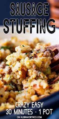 Savory pork sausage, onions, celery & stuffing mix, made in 30 minutes on the stovetop making this Easy Sausage Stuffing the perfect holiday side dish.