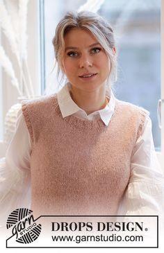 Ravelry: Rose Blush pattern by DROPS design Drops Design, Finger Knitting, Free Knitting, Baby Knitting Patterns, Scarf Patterns, Laine Drops, Knit Vest Pattern, Blush Roses, Knit Crochet