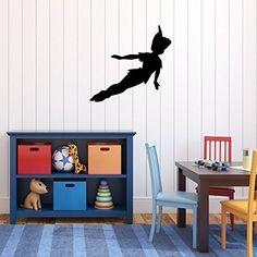 Peter Pan Wall Decal Vinyl Sticker, Disney Flying to Neverland Character Art Silhouette - CustomVinylDecor.com