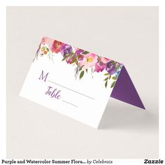 Purple and Watercolor Summer Floral Place Cards