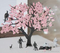 Cherry blossom tree park paper model