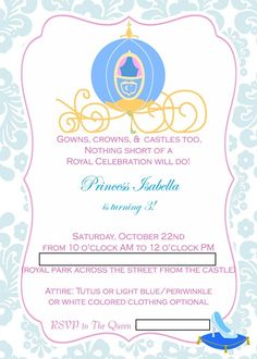 Cinderella invitations printable cinderella invitation for Cinderella invitation to the ball template