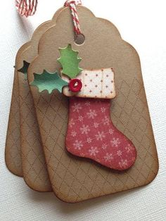 Handmade vintage style stockings shabby chic aged distressed inked on Etsy, Christmas Tags Handmade, Handmade Gift Tags, Christmas Gift Wrapping, Christmas Paper, Christmas Stocking, Freetime Activities, Theme Noel, Diy Weihnachten, Card Tags