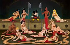 Mickey and the Disney Princesses channeling Star Wars.