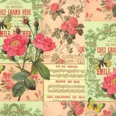 Green and Pink Rose Collage Print Paper ~ Rossi Italy