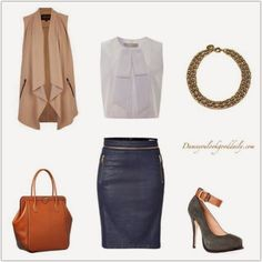 What to Wear to Work, Work Outfit Ideas,  Fashion, Style, Date Night, Party Outfit, Summer, Fall, Spring, Summer, leather pencil skirt, white blouse, nude vest