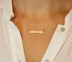 Want!! It could say Jake  Jo!!!           Gold Bar Necklace // Engraved Gold Plate by LayeredAndLong on Etsy