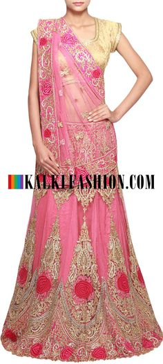 Get this beautiful lehenga here: http://www.kalkifashion.com/dark-pink-lehenga-adorn-in-resham-and-kundan-embroidery-only-on-kalki.html Free shipping worldwide.
