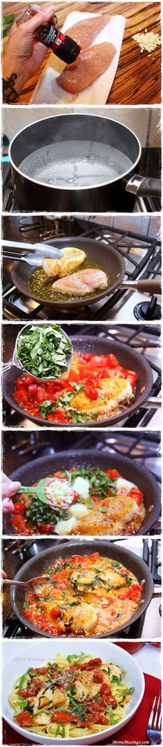 Tomato Basil Chicken.. I just made this now for lunch. hubs liked it. I also used low carb pasta it was delicious.