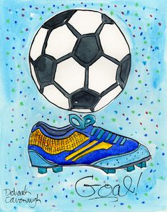 Goal!, great for boys and girls, soccer ball, cleats, print on paper or canvas