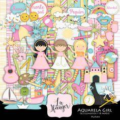 Kit Digital Aquarela Girl by Lu Ifanger