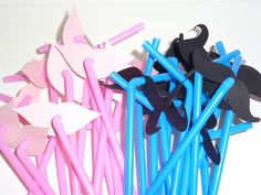 24 pcs Mustache Lips Party Straws - Pink / Blue Bendable plastic straws $10.00, via Etsy.
