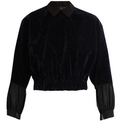 KOLOR Elasticated-hem velvet blouse ($641) ❤ liked on Polyvore featuring tops, blouses, navy, navy blue blouse, cut-out crop tops, crop top, velvet crop top and navy top