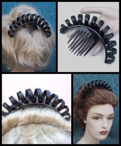 Victorian Mourning Tiara Comb Black Vulcanite Unusual Corkscrew Hair from…