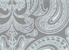 gray paisley wallpaper | Malabar Wallpaper Light blue on grey Indian paisley design wallpaper