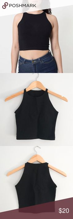 American Apparel // Crop Top American Apparel cotton spandex sleeveless crop top in black. Worn once. In excellent condition. Size small. 95% combed cotton 5% elastane. No tags are in tact. American Apparel Tops Crop Tops