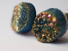 Boho Earrings - Green Sparkling Moon - Rainbow Colorful Green Toned Raw Druzy Round Titanium Stud Earrings - Post, Jewelry, Hippie, Hipster. $19.00, via Etsy.