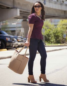 Diary of a Southern Shopper: Jeans: Express / Peplum Top: Target / Bag: Forever 21 / Heels: Shoedazzle
