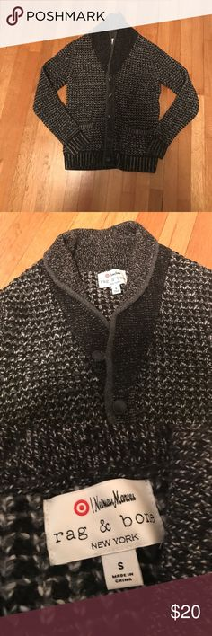 Rag & Bone Thick Cardigan Sweater By Neiman Marcus for Target—very warm black and white Thick Cardigan with collar and buttons rag & bone Sweaters Cardigans
