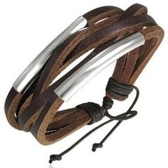 Surf Style Brown Leather Multi Strand Men's Bracelet -#URBANMALE #MENSJEWELLERY