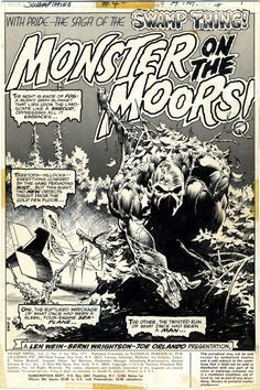 Swamp Thing #4 - spalsh page, art by Bernie Wrightson.
