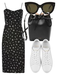 """Untitled #4549"" by beatrizvilar ❤ liked on Polyvore featuring Topshop, CÉLINE, Mansur Gavriel and Yves Saint Laurent"